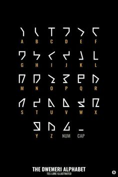 The language of the Dwemer, sometimes called Dwemeris, uses an alphabet that consists of 28 letters, 26 of which correspond to the letters of the Latin alphabet, and 2 special letters: one of which. Alphabet Code, Sign Language Alphabet, Alphabet Symbols, Ancient Alphabets, Ancient Symbols, Different Alphabets, Sms Language, Schrift Design, Writing Tips