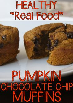 Healthy real food pumpkin (or sweet potato) chocolate chip muffins recipe. You could substitute ingredients to make this vegan. Pumpkin Recipes, Fall Recipes, Real Food Recipes, Cooking Recipes, Healthy Desserts, Delicious Desserts, Yummy Food, Healthy Muffins, Cupcakes