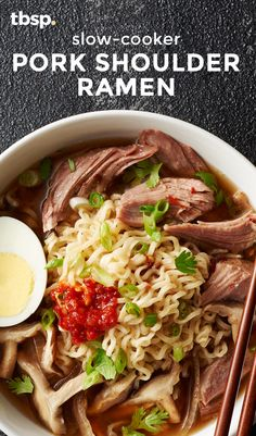 This slow-cooker ramen is easy enough to make for a weeknight, but still delivers on the pork- and chicken-filled flavor of traditional Japanese tonkatsu ramen.