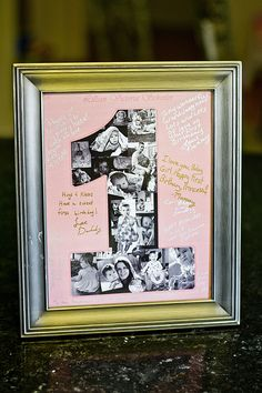 For Lilly first birthday I made all our family write her birthday wishes on this picture collage of her first year and now hangs in her room.