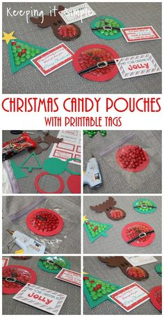 Easy Christmas Treat- Christmas candy pouches with printable tags