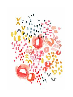 Gesture by Kelly Ventura | Minted — modern, abstract, shapes, simple, white, colors, yellow, coral, navy, pink, art print