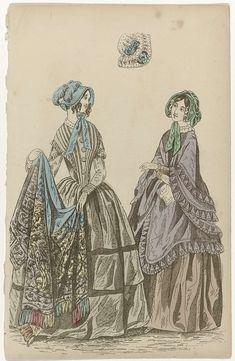 Anonymous | The Ladies' Cabinet of Fashions, 1846, Anonymous, G. Henderson, 1846 | Vrouw in een hooggesloten japon met lange mouwen. In de handen een sjaal afgezet met franjes. Naast haar een vrouw in een mantel afgezet met gerimpelde stroken stof. Verdere accessoires: hoeden met striklinten, muts, handschoenen, zakdoek. Prent uit het modetijdschrift The Ladies' Cabinet of Fashions, Music and Romance (Londen 1832-1870).