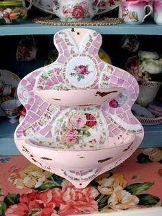 Shabby Prim Pink China Rose Mosaic Wall by GrindstoneMtnMosaics