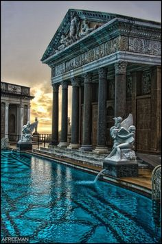 Neptune Pool, The Hearst Castle, San Simeon, California Architecture Baroque, Ancient Architecture, Beautiful Architecture, Beautiful Buildings, Architecture Design, Beautiful Places, Travel Aesthetic, Aesthetic Pictures, Places To Go