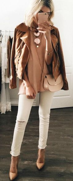 Tan jacket + beige top or sweater + white denim