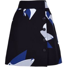 Tibi Floral Particle Wrap Skirt ($395) ❤ liked on Polyvore featuring skirts, cotton a line skirt, blue floral skirt, knee length a line skirt, floral print skirt and flower print skirt