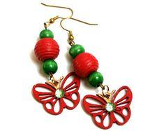 Red Butterfly Wood Earrings, Wooden Jewelry, Handmade Earrings, Happy Boho earrings, Christmas earrings,Eco Gift for her