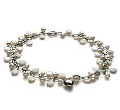 Ria - Perlen mit Herz-GlücksbringernHalskette - Weiß A 6-7mm Süßwasser