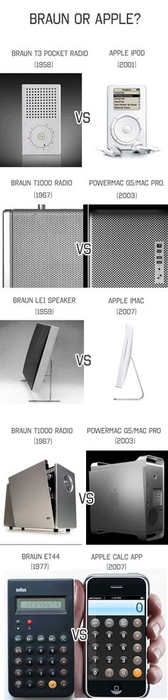 Apple products have amazing design, but Apple lead designer Jonathan Ive freely admits that he draws heavy insipiration from his idol Dieter Rams. Jump over the break to check out some similarities between Braun and modern Apple products… Web Design, Icon Design, Smart Design, Graphic Design, Steve Jobs, Dieter Rams Design, Braun Dieter Rams, Design Innovation, Pocket Radio
