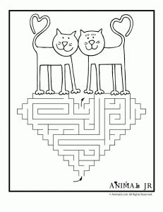 free printable valentines (color with mazes) ... choose squirrels, cat with valentine, or two kitties who's tales make hearts. VERY CUTE!