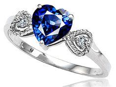Tommaso design Studio Created Sapphire Heart Shape Engagement Promise Ring 10kt Gold