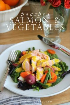 Poached Salmon  & Vegetables with lemon garlic aioli  - Easy & Very Healthy Dinner... made all in one pot