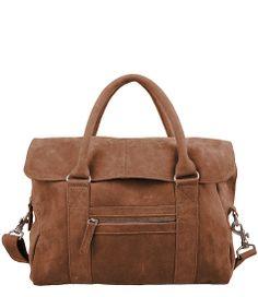 Deze Evans tas van Cowboysbag is van suède en heeft een licht bruine kleur