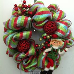 Deco mesh Christmas wreath I made. Christmas DIY decor!