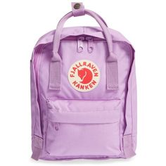 Women's Fjallraven 'Mini Kanken' Water Resistant Backpack ($65) ❤ liked on Polyvore featuring bags, backpacks, orchid, water resistant bag, fjallraven bag, mini bags, rucksack bags and fjallraven rucksack