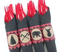 Lumberjack Party Napkin Rings Lumberjack by DandelionKidsPartyCo
