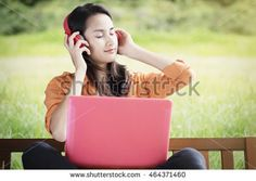Asian woman relax listen to music. Enjoy the music and Relaxation idea concept background.