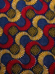 African Queen Fabric Real Wax Navy Blue Curls Patterns For Wedding Party rw470401