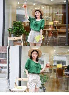 bs4466 Square Neck Ribbon Tie Blouse   ATTRANGS: Shop Korean fashion clothing, bags, shoes and accessories for women Tie Blouse, Shirt Blouses, Korean Blouse, Blouse Styles, Korean Fashion, Burberry, Ribbon, Fabric, Clothes