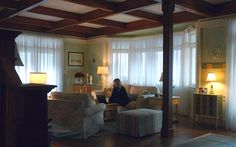 look past the actors to see the beach themed decor of Emily's beach house (LR) tv show -Revenge room Revenge