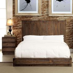 Display your love for the wilderness with the rustic inspired low profile bedroom set. The distressed wood panel headboard offers a gorgeous visual towering over the low structure while paired case goods enhance the wood visuals.