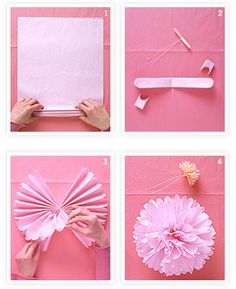 tissue paper pompoms, I used to make these all the time when I was a kid!