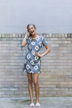 This stylish dress by Australian designer Carlie Ballard, with its luxurious tones is crafted from hand-woven traditional ikat fabric by artisans in a small scale workshop in Lucknow, India. #artisans #dress #designer #ecofashion #ethical #sustainable