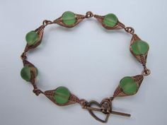 Soft Green Sea Glass And Copper Wire Link by AraliaDesigns on Etsy, $20.00