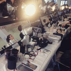Backstage at Porsche Design New York Fashion Week AW15 #SHISEIDO #資生堂 #nyfw #backstage #makeupartist #cosmetics #cosmetic #beauty #hairmake #hairmakeup #fw15