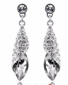 1d8ec2cc3 Silver Plated Luxury Brand Women Geometric Crystal Tear Drop Long Earrings  Charm Romantic Brincos (White).