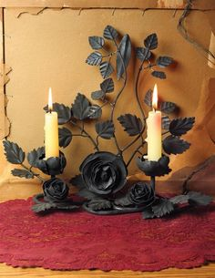 Gothic Thorny Black  Rose Metal  Tabletop Candle Holder Prop Decor Halloween