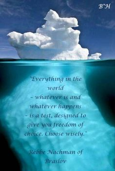 """Everything in the world - whatever is and whatever happens - is a test, designed to give you freedom of choice.  Choose wisely.""  ~Rebbe Nachman of Breslov"