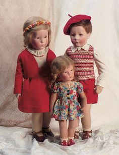 """14-20"""" cloth child dolls in factory fashions (dig that beret!), Germany, 1940-41, by Käthe Kruse."""