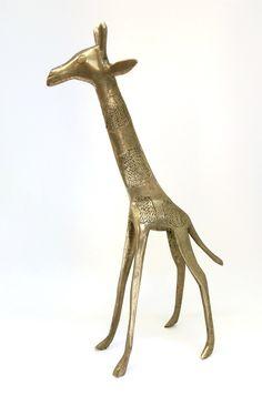 Beautifully sculpted Handmade Bronze Statuette of a Giraffe from Benin, Africa