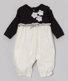 Take a look at this Black & White Blossom Playsuit - Infant by Nannette Baby on #zulily today!