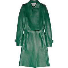 Coated Trench Raincoat | Raincoat, Green leather and Vince camuto
