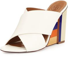 Tory Burch Color Cube Leather Wedge Sandal, Ivory #ivory #white #sandals #orange #purple #fashion #colorblock #shoes