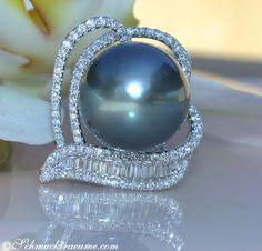 Prächtiger Tahitiperle Ring mit Brillanten & Diamanten » Juwelier Schmucktraeume.com