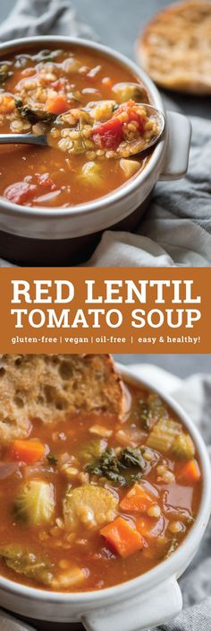 This delicious and filling Red Lentil Tomato Soup is vegan, gluten-free and virtually fat-free. Easy to make in under 30 minutes. High in fibre and protein.