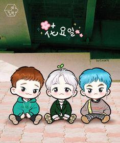 Image about cute in exo fanart,chibi 💗 by happinessvirus Exo Xiumin, Exo Chen, Kpop Exo, Exo Ot12, Chanbaek, Naruto Chibi, Chibi Manga, Chibi Bts, Abrazo Virtual Gif