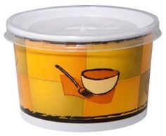 Chinet 70416 16 oz Streetside Design Squat Paper Food Container with Plastic Lid (Case of 250) by Chinet. $56.82. Offer hot soup, chili, macaroni and cheese and more to go in these 12 oz. paper soup cups with matching plastic lids! Each paper food container is made of heavy duty double poly coated paperboard for durability, with a trendy printed design. Matching translucent polypropylene vented lids are also included, to maximize product visibility and merchandising possibilities...