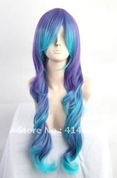 Turquoise blue purple mixed curly cosplay wig, cos anime wig, free shipping-in Wigs from Beauty & Health on Aliexpress.com