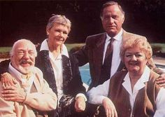 'As Time Goes By' is a BBC production starring Frank Middlemass, Judi Dench, Geoffrey Palmer, and Joan Sims. British Tv Comedies, British Comedy, British Actors, Bbc Tv Shows, Great Comedies, Judi Dench, Comedy Tv, Great Tv Shows, Agatha Christie
