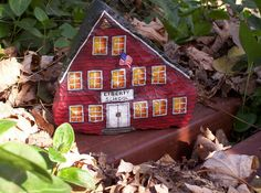 HAND PAINTED ROCK Liberty School House by WytcheHazel, via Flickr