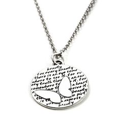 Butterfly (Beauty quote) Sterling Silver Large Pendant Necklace (Chain Length Option)