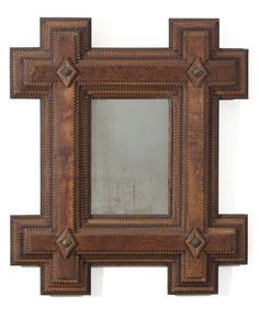 Beautiful grained wood tramp art frames with mirrored plates / early 20th century American