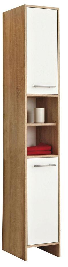Badregal Bad Hochschrank 190cm Wandschrank Bambus Holz weiß 70 - badezimmer hochschrank 60 breit