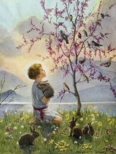 Boy looking at the birds by Margaret Tarrant