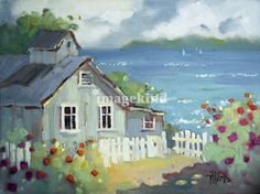 """""""Nantucket Retreat by Joyce Hicks"""" by Joyce Hicks, Lantana, Texas // Lively brushwork and colors that sing describes the artist's unique style making her work easily recognizable. Visit my web site and blog at www.jhicksfineart.com. Joyce Hicks // Imagekind.com -- Buy stunning fine art prints, framed prints and canvas prints directly from independent working artists and photographers."""
